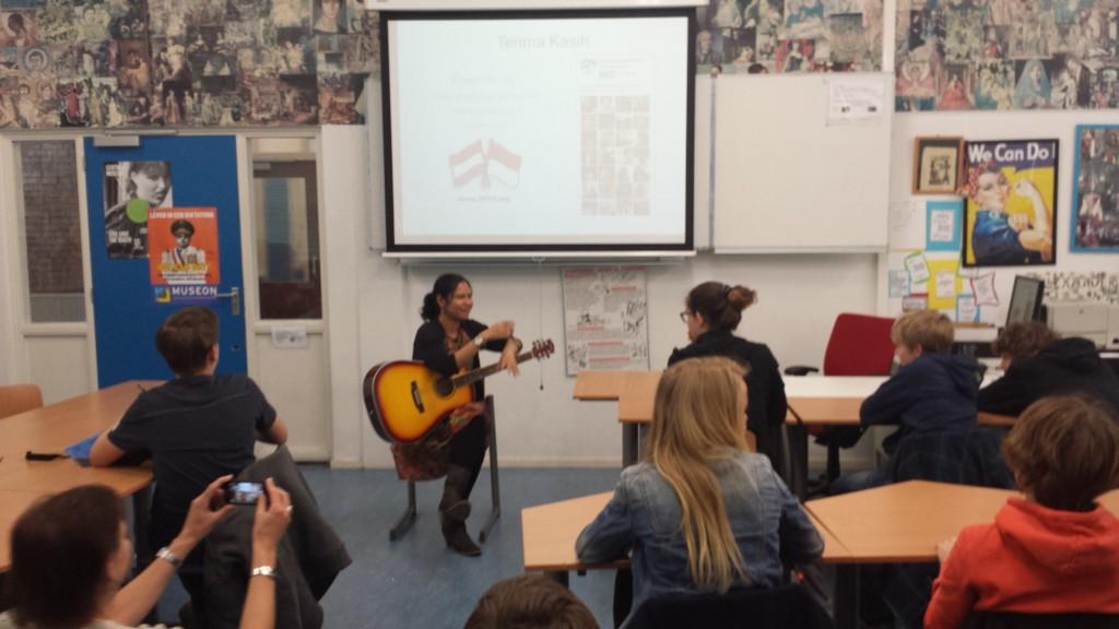 Maria Ingrid teaching Indonesian music